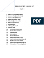 Sabis Books Complete Package List Grade 3