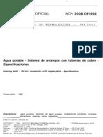Nch 2038 of 1998 Agua Potable - Sistema Arranque Tuberías de No Existe