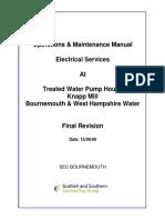 Knapp Mill WTW Treated Water Pump House HV Supply O & M Manual