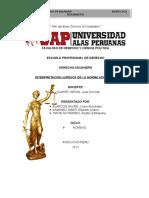 Interpretacion Juridica Del Dedrecho Aduanero Trabajo 1