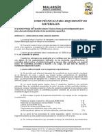 Especificaciones - Arena Gruesa