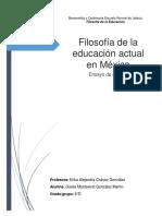 Ensayo Filosofía de La Educación Actual en México
