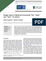 "European Management Journal Volume 30 Issue 4 2012 [Doi 10.1016%2Fj.emj.2012.02.001] Deborah Agostino; Michela Arnaboldi -- Design Issues in Balanced Scorecards- The ""What"" and ""How"" of Control (1)"