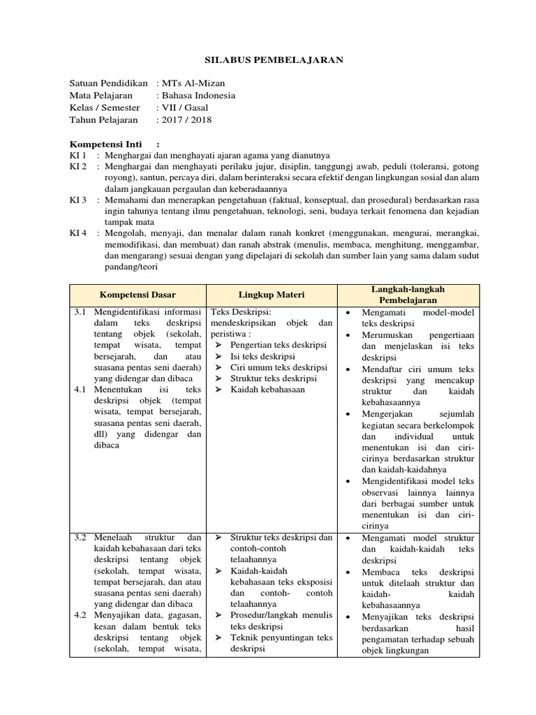 Silabus B Indonesia Kelas 7 Kurtilas Format Revisi 2017
