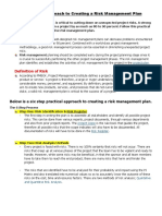 A Practical Approach to Creating a Risk Management Plan