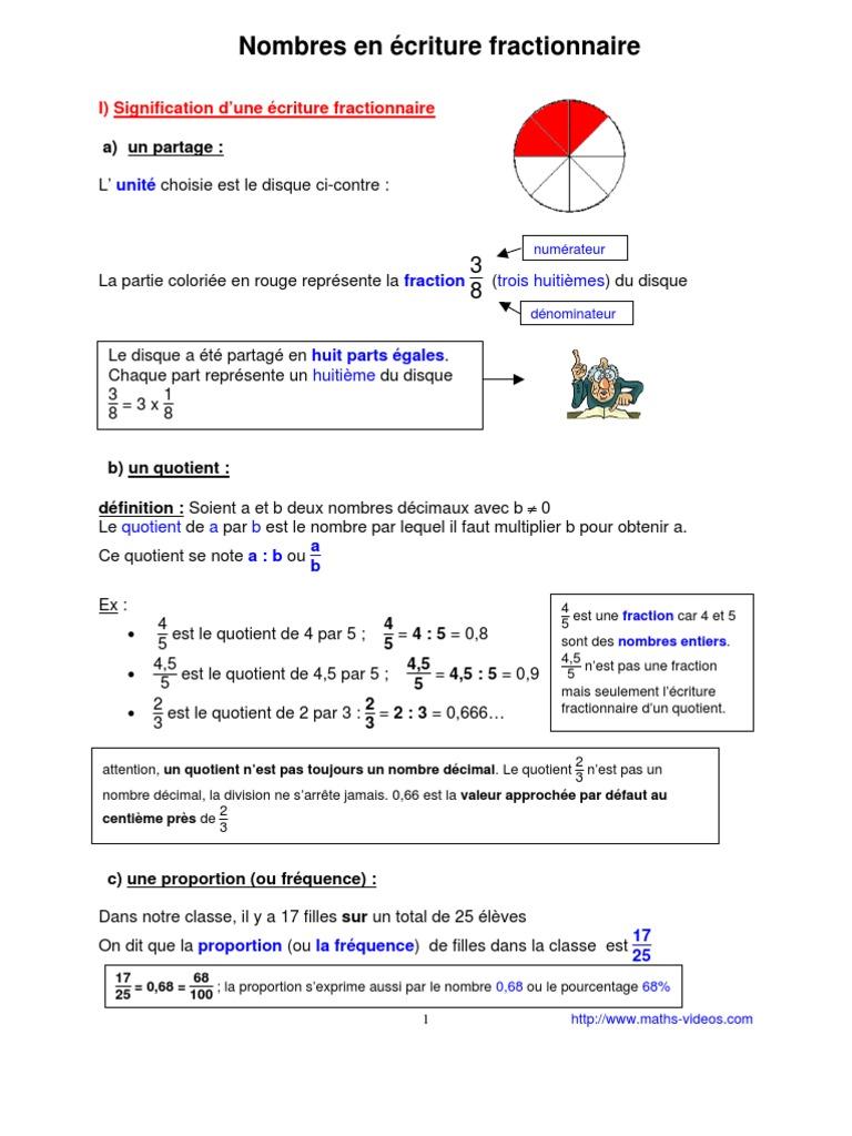 écriture fractionnaire (5ème) | Fraction (Mathématiques ...