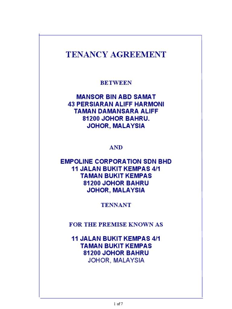 Format Tenancy Agreement Leasehold Estate – Sample Tenancy Agreement
