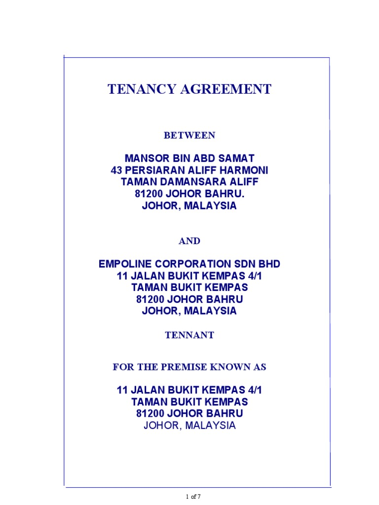 Format Tenancy Agreement Leasehold Estate Landlord