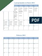 Actividades Programadas en Enero 2011