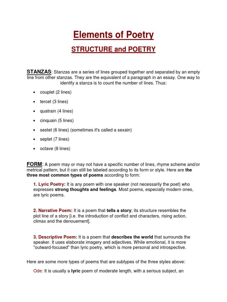 Elements Of Poetrypdf Metre Poetry Poetry