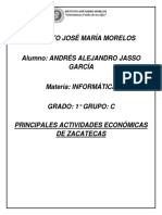 Principales Actividades Económicas de Zacatecas