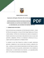 Resolucion Corte Nacional 05-2016 Caducidad Accion Despido Ineficaz