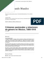Crímenes pasionales y relaciones de género en México, 1880-1910
