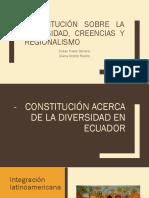 Constitución Sobre La Diversidad, Creencias y Regionalismo