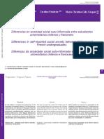 (Prueba T) Diferencias en Ansiedad Social Auto-Informada Entre Estudiantes Universitarios Chilenos y Franceses.