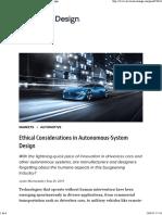 Consideraciones eticas en el diseño de sistemas autonomos (en inglés)