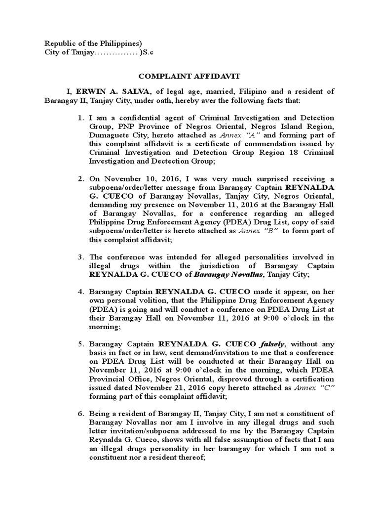 Aa Salva Affidavit Common Law