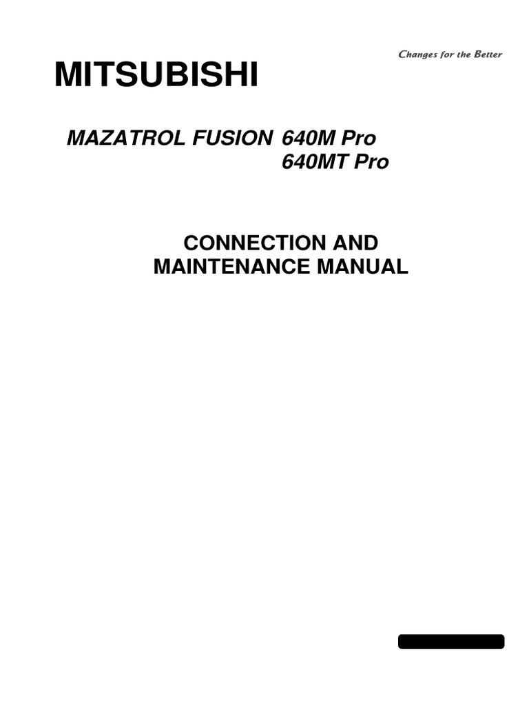 Mazatrol Fusion 640M Pro 640MT Pro Connection and Maintenance BNP