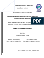 Elaboracion de Manual Del Proceso de Purificacion Del Agua en La Planta Purificadora El El Eden