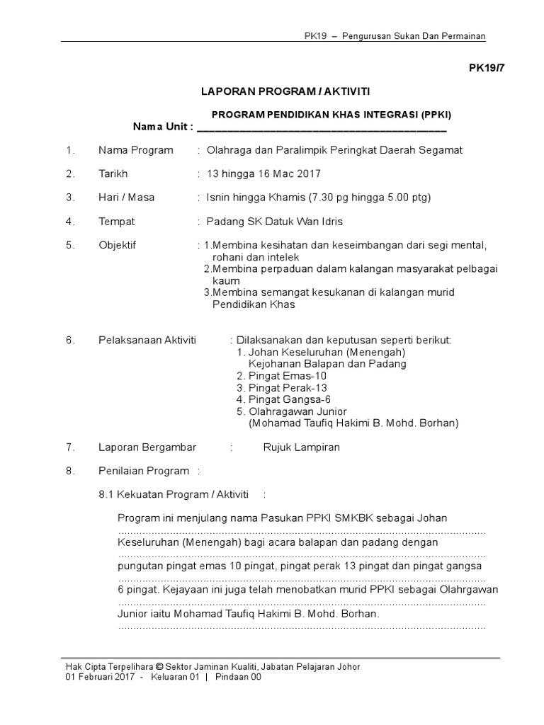 Laporan Balapan Padang Daerah 2017