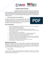Career Opportunities - M E Officer and Finance Assistant