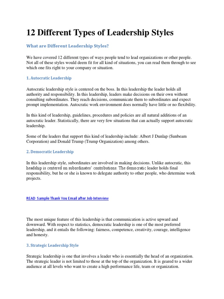 12 Different Types of Leadership Style1 | Transformational