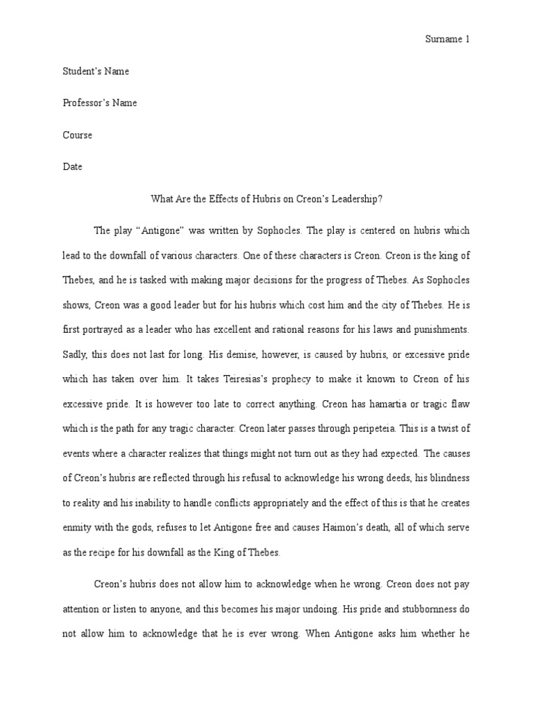 an analysis of creaons tragic downfall in antigone by sophocles