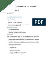 Points of Consideration on Hospital Establishment