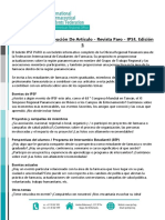 IPSF PARO Newsletter, Issue 5 - Call for Article Contributions (Spanish)