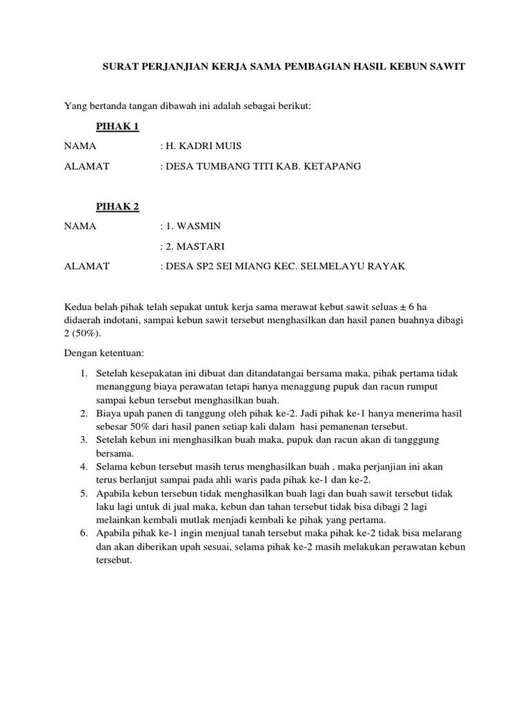 Surat Perjanjian Kerja Sama Pembagian Hasil Kebun Sawit