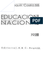1938 - Educación Nacional Informe Al Congreso Tomo I