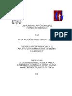 Uso de La Polifarmacia en El Adulto Mayor Mexicano en El Periodo Enero Diciembre 2017