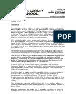 St. Casmir letter to parents
