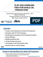 Design of Gas Handling Facilities for Shale Oil