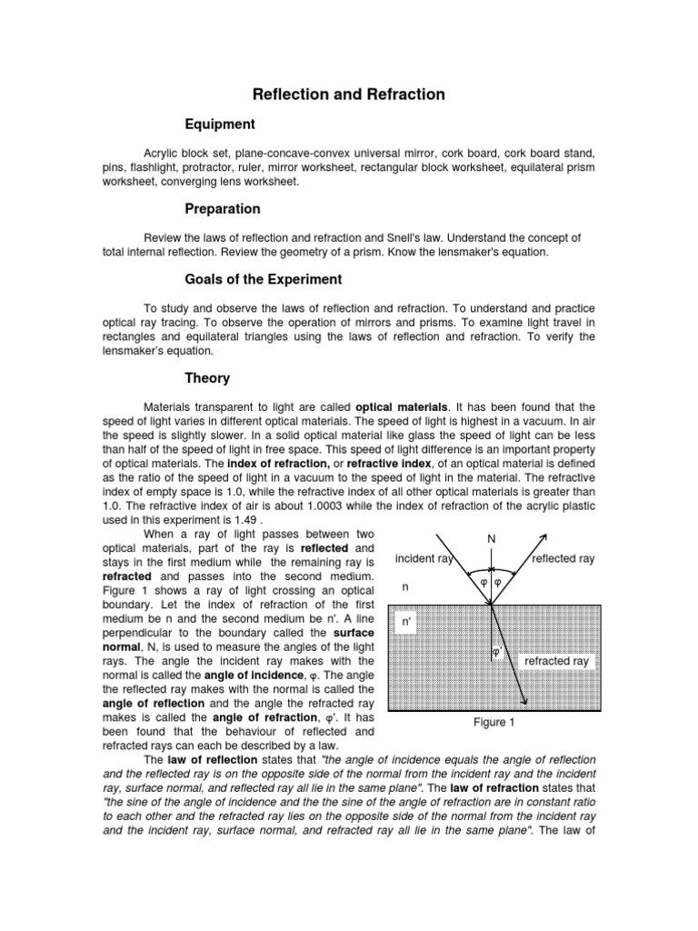 worksheet Convex And Concave Lenses Worksheet reflection refraction pdf lens optics