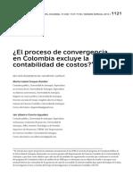 El Proceso de Convergencia en Colombia Excluye La Contabilidad de Costos
