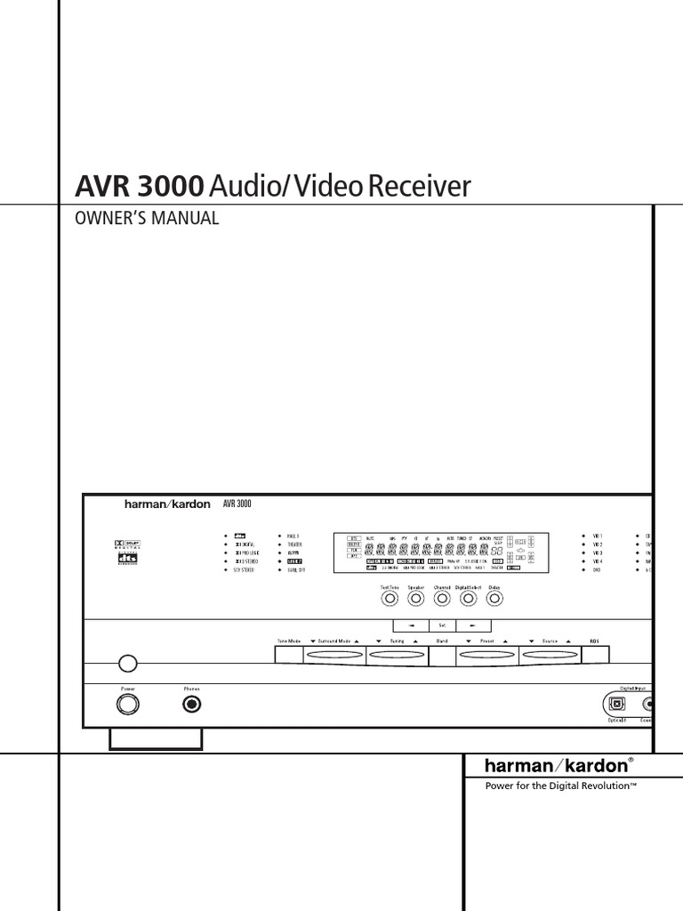Harman Kardon AVR 3000 Owners Manual | Sound Technology | Audio