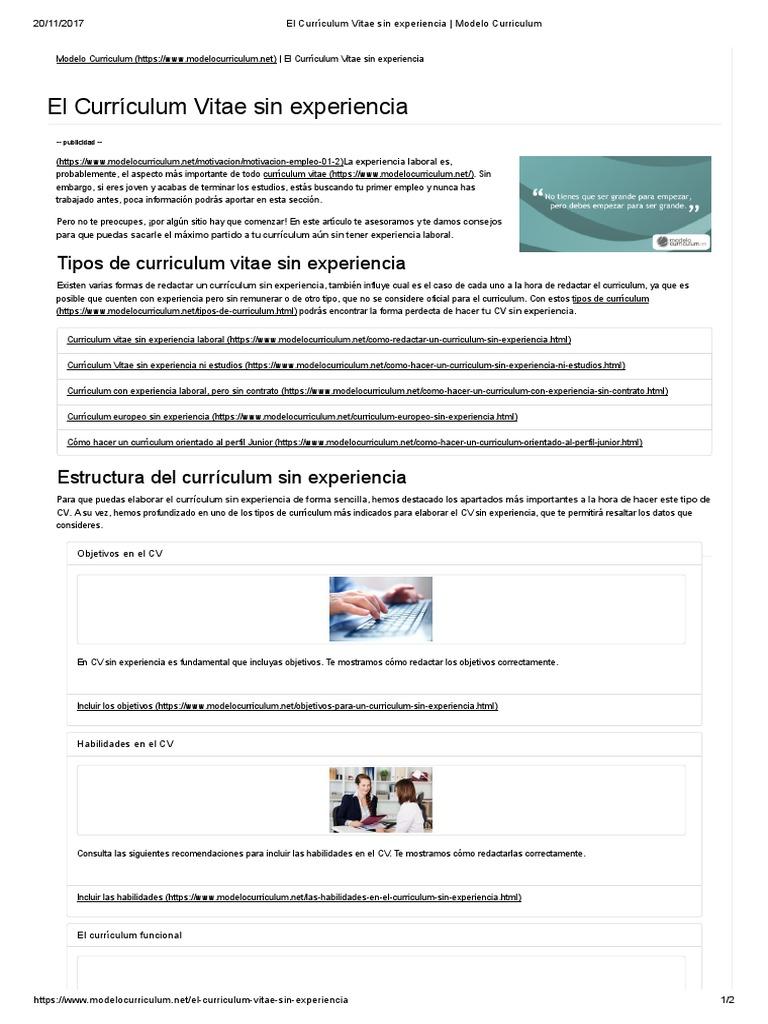 El Currículum Vitae Sin Experiencia _ Modelo Curriculum