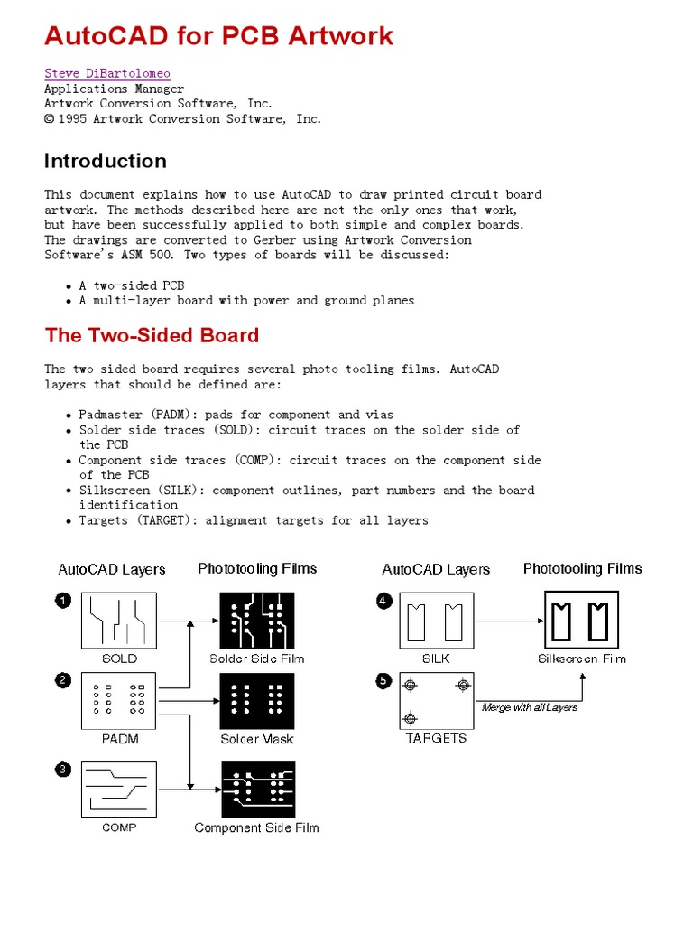 Note - AutoCAD for PCB Artwork   Printed Circuit Board