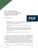 Tres Cartas Circulares Del Fundador Del Opus Dei (Burgos, 1938-1939)