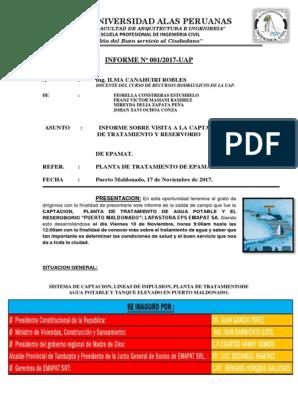 Informe Final Abastecimiento Emapat Uap Coloide Aluminio