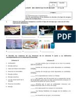 Evaluacion 6to Tipos de Energia