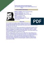 Biografía Del Escritor Antoine de Saint