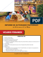 Informe de Actividades Pastorales (Vicarios Foraneos) -1