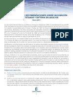 Actualización de Recomendaciones Sobre Vacunación frente a Tétanos y Difteria en Adultos