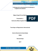 Evidencia 7 Caso de Estudio Entrega de Los Documentos de Embarque a La Agencia de Aduanas