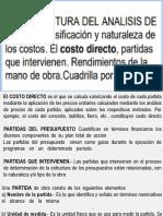 Clase 10-La Estructura Del Análisis Del Costo Directo