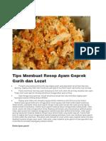 Tips Membuat Resep Ayam Geprek Gurih Dan Lezat