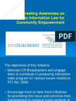 Creating Awareness on Right to Information Law for Community Empowerment through Community Radio