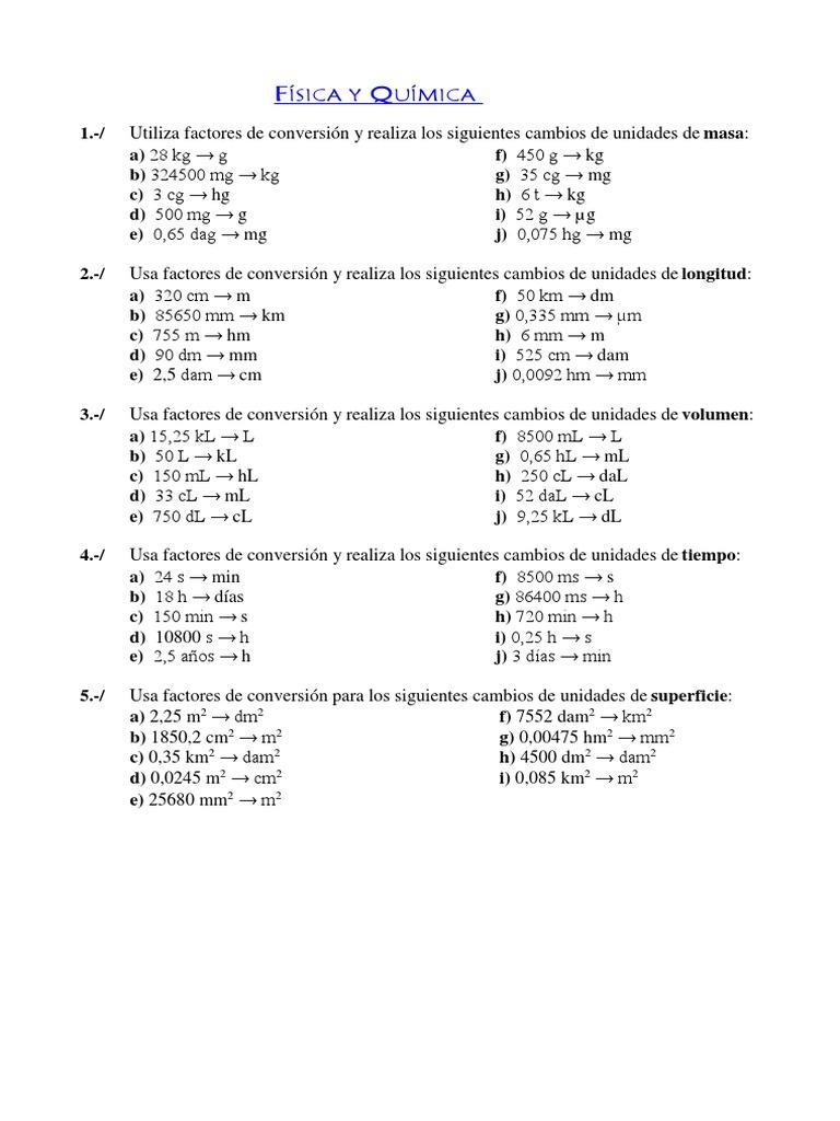 Ejercicios Factores Conversion Unidades De Medida Sistema Internacional De Unidades
